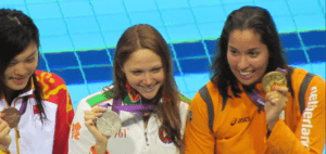 Olympic podium women swimming